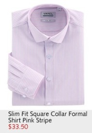 Slim Fit Square Collar Formal Shirt